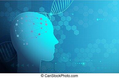 structure., humain, science, numérique, résumé, arrière-plan., binaire, soin, moléculaire, adn, santé, technologie