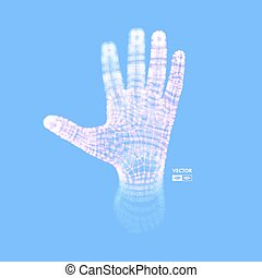 structure., illustration., concept., hand, arm., verbinding, vector, model., menselijk, toekomst, technologie, 3d