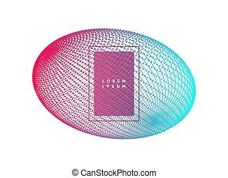 structure., illustration., ellipse., astratto, wireframe, collegamento, griglia, 3d, tecnologia, style., design.