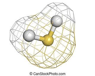 structure., molecola, gas, chimico, (h2s), sulfide, h, tossico, idrogeno