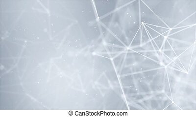 Structure molecule and communication. Dna, atom, neurons Loop Background Clean White. Scientific concept for your design. Connected lines with dots. Medical, technology, chemistry, science