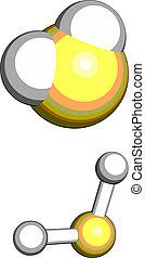 structure., molekuła, gaz, chemiczny, (h2s), sulfide,...