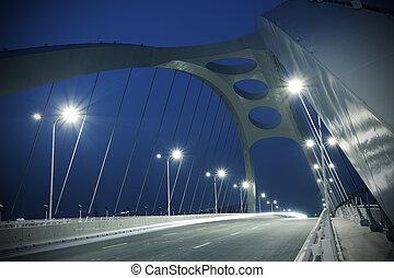 structure, nuit, pont, acier, scène