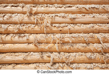 wall from wooden logs