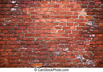 Structure of an old red brick wall