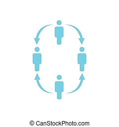 structure of company icon, four people, business report concept. team work hierarchy with arrows down and up. vector illustration isolated on white background.