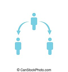 structure of company icon, three people, business report concept. two level hierarchy with arrows down and up. vector illustration isolated on white background.
