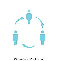 structure of company icon, three people in circle, business report concept. hierarchy with arrows in circle. vector illustration isolated on white background.