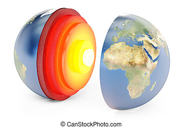 structure of earth concept, 3D rendering
