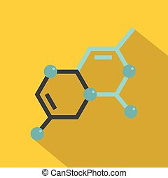 Structure of molecule icon, flat style