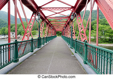 Structure of red old iron bridge