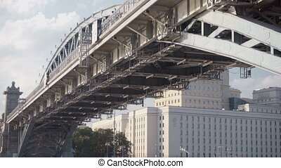 Structure of the bridge is closeup. Pan to the left