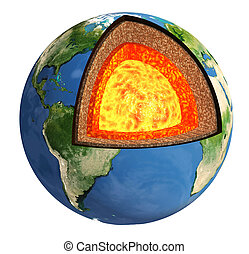 Structure of the Earth. Model isolated on white background