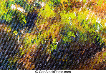 structure of wooden log covered with moss, closeup painting detail.