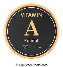 structure., retinol., a, vitamin, chemische , übertragung, ikone, kreis, molekular, formel, 3d