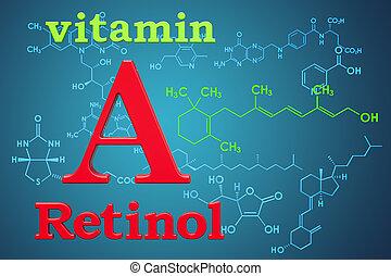 structure., retinol., a, vitamin, chemische , übertragung, molekular, formel, 3d