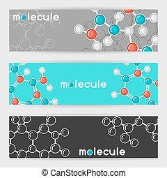 structure., stijl, plat, abstract, molecules, banieren, moleculair