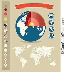 structure., style, éléments, infographic, retro, gabarit, la terre