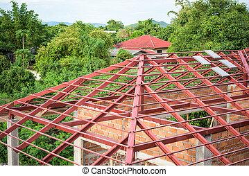 structure, toit, maison, acier, nouveau