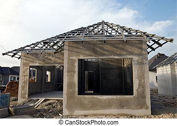 structure toit, maison, murs, construction