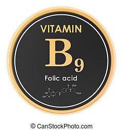 structure., vitamin, folic, chemische , übertragung, b9, acid., ikone, kreis, molekular, formel, 3d