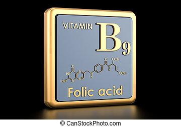 structure., vitamin, folic, chemische , übertragung, b9, acid., ikone, molekular, formel, 3d