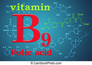 structure., vitamin, folic, chemische , übertragung, b9, acid., molekular, formel, 3d