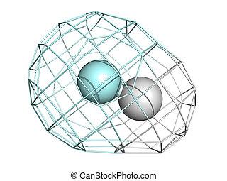 structure., wasserstoff, (hf), chemische , molekül, fluorid