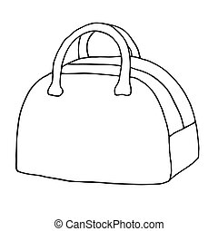 Structured bag, luggage bag with handles. Line art sketch illustration. Black and white vector isolated object.