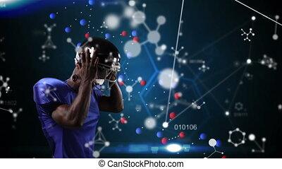 structures, joueur, mâle, rugby, moléculaire, contre
