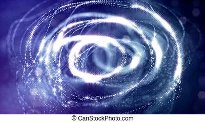 structures., résumé, année, bleu, guirlande, fluing, étincelles, seamless, particules, 7, nouveau, noël, 3d, champ, formulaire, particules, bokeh., agiter, fond, lueur, aimer, air, profondeur, ou, boucle