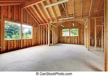 structuur, garage., gebouw, boven, onafgewerkt