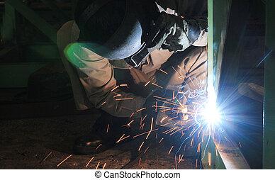 structuur, lassen, industriebedrijven, staal, fabriek, arbeider, spa