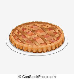 strudel, pomme, pie-like, pommes, fait, sucre, plat, pâte, épices