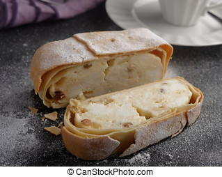 Strudel with cheese and raisins