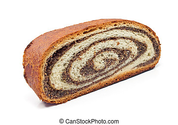 Strudel with poppy seeds isolated on white