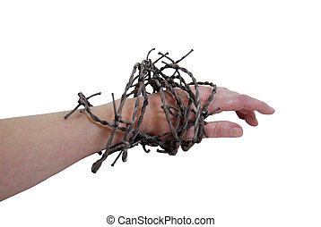 Struggles against issues - Sharp barbed wired used as a...