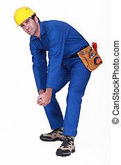 Struggling manual worker