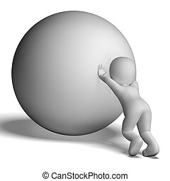 Struggling Uphill Man With Ball Showing Determination -...