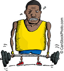 Struggling Weightlifter - African man struggling to lift...