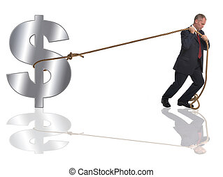 Struggling with the dollar. - Businessman pulling along a...