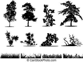 struiken, silhouettes, bomen, gras