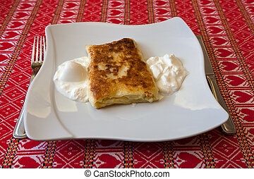 Strukle with cream - famous Croatian appetizer made with...