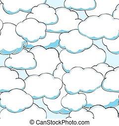 struktúra, ábra, seamless, vektor, clouds., gyönyörű