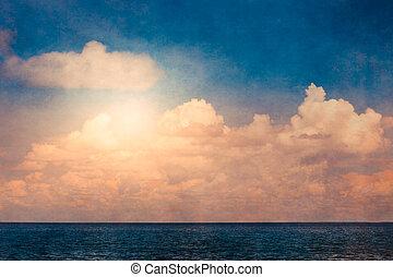 struktúra, elhomályosul, óceán, ég
