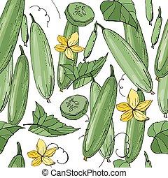 struktúra, motívum, növényi, cucumber., zöld, seamless, vég ...
