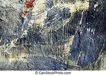 struktur, av, den, gammal, stuck vägg, med, sprickor