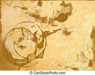 struktur, av, gammal, tom, papper, med, fläckat, av, glas