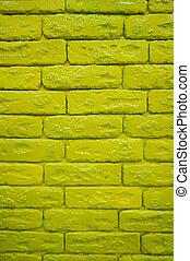 struktur, grönt vägg, tegelsten