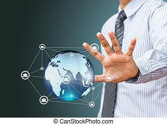 struktur, hand, nätverk, affär, social